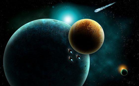 Фото бесплатно космос, планеты, метеорит