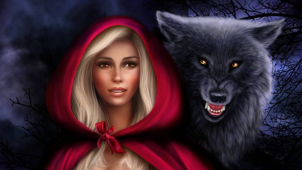 Photo free little red riding hood, wolf, fantasy