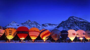 Бесплатные фото люди,горы,воздушный шар,снег,вечер,курорт,огонь