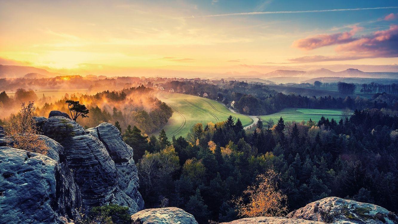 Фото бесплатно лес, солнце, камни - на рабочий стол