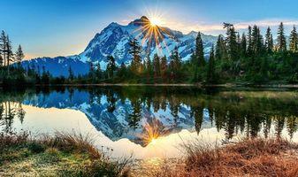 Заставки озеро,гора,солнце,пейзажи