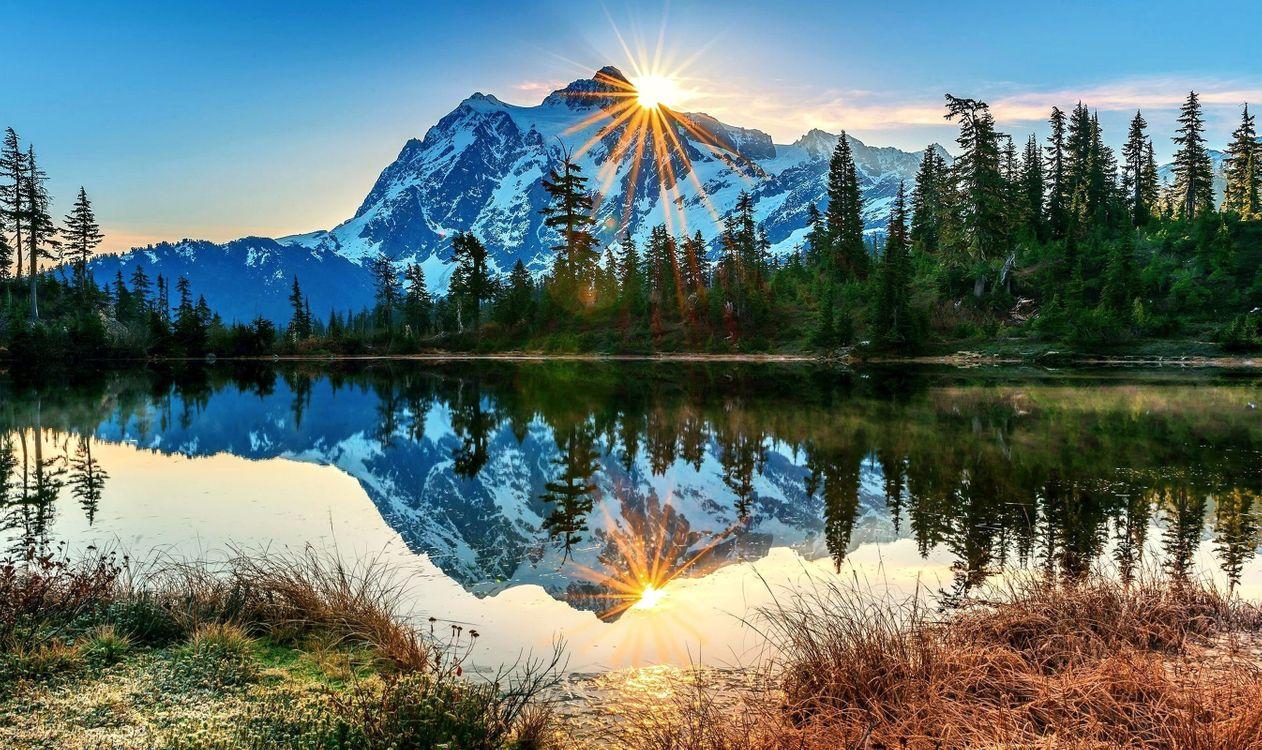Фото бесплатно озеро, гора, солнце - на рабочий стол