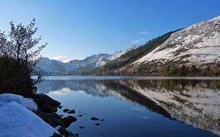 Бесплатные фото озеро,отражение,горы,снег,деревья,небо,природа