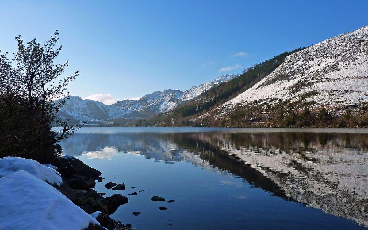 Фото бесплатно озеро, отражение, горы, снег, деревья, небо, природа, природа