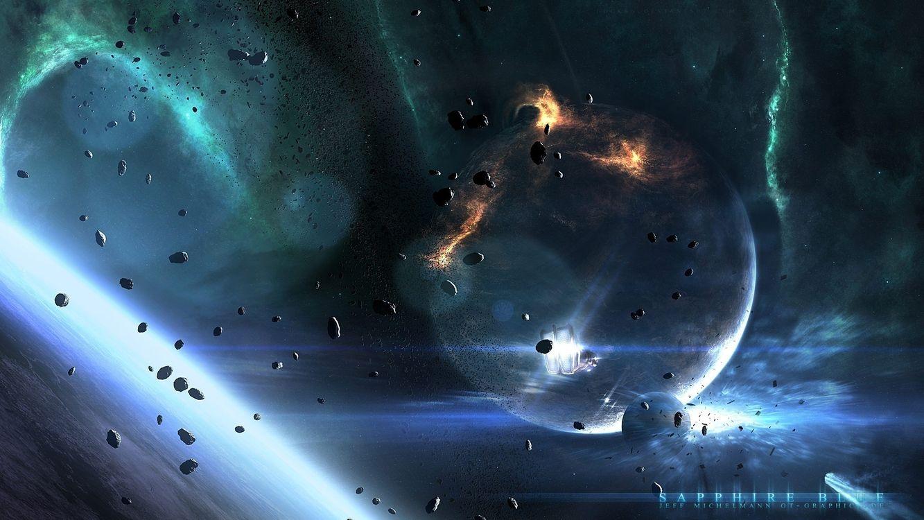 Фото бесплатно планета, земля, астероиды, камни, метеориты, спутник, луна, огни, свет, космос, космос