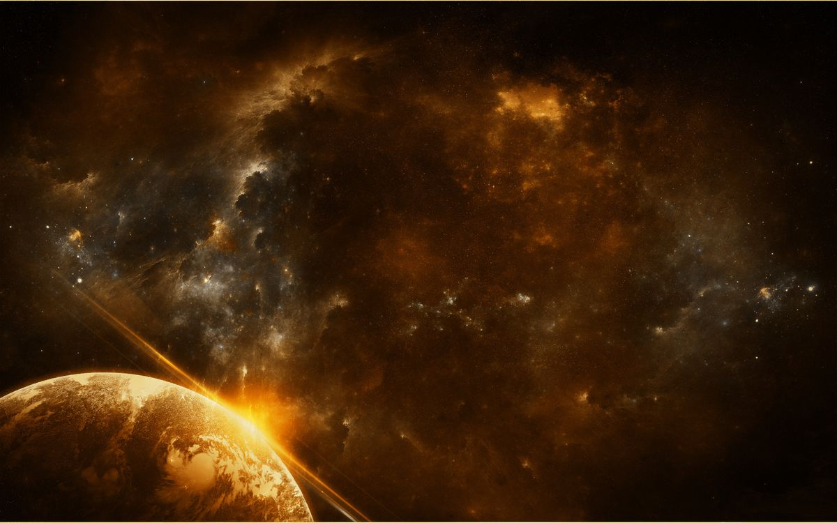 Фото бесплатно планета, земля, поверхность, свет, лучи, солнце, звезды, галактики, туманность, космос, космос