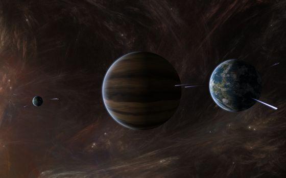 Фото бесплатно планеты, звезды, метеориты