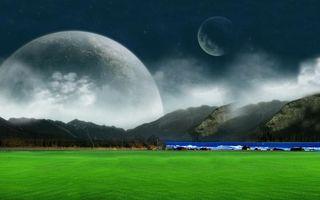 Бесплатные фото поле,зеленое,река,горы,природа,небо,планеты