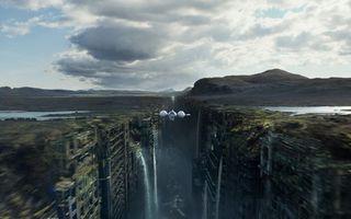 Заставки после нашей эры, город, ущелье, дома, вода, водопад, самолет, корабль, человечество, фантастика