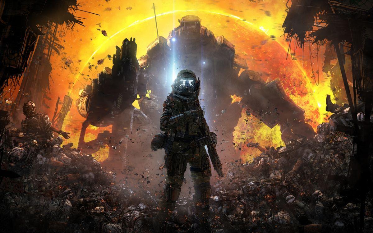 Фото бесплатно titanfall, солдат возле мёртвых тел, титан - на рабочий стол