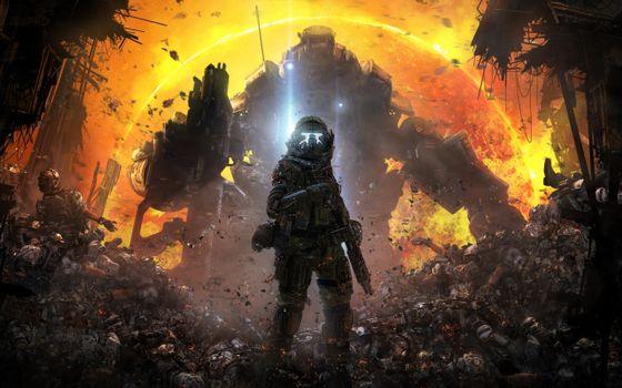 Фото бесплатно titanfall, солдат возле мёртвых тел, титан