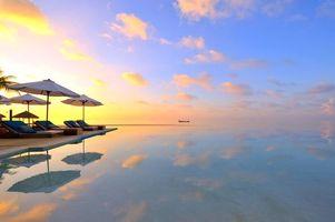 Бесплатные фото тропики, мальдивы, море, лодка, курорт, бассейн, закат