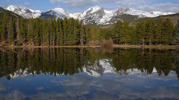Бесплатные фото вода,озеро,лес,деревья,горы,снег,природа