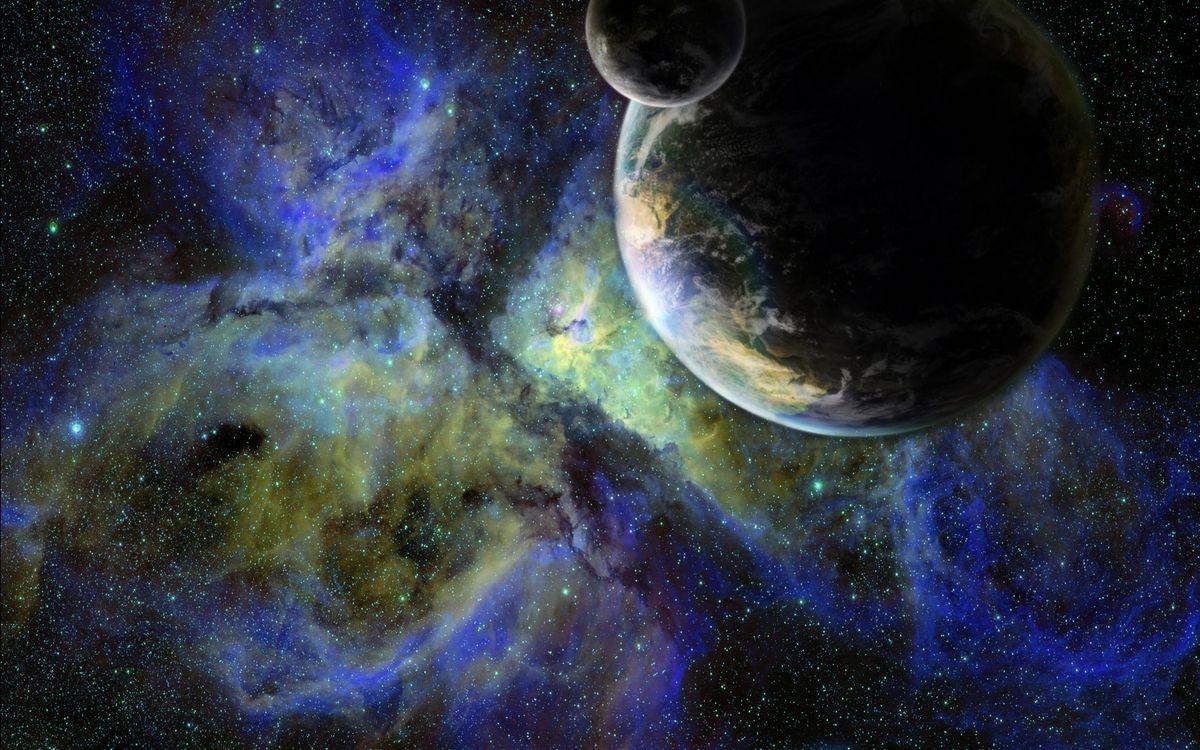 Фото бесплатно земля, луна, планета, спутниц, звезды, скопления, туманность, галактика, космос, космос