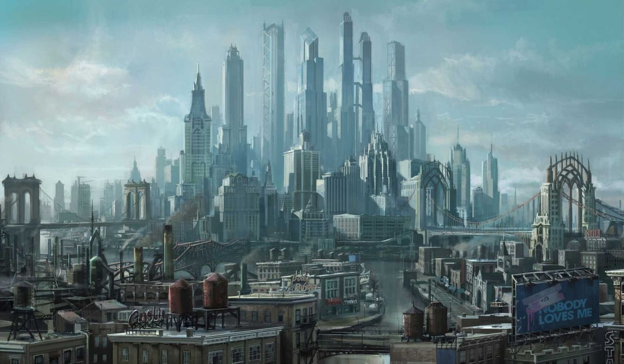 Фото бесплатно город, мегаполис, арт - на рабочий стол