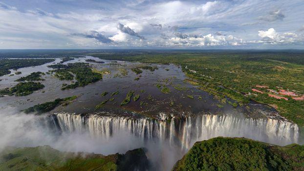 Фото бесплатно водопад, городок, дома