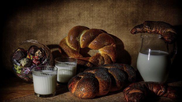 Фото бесплатно хлеб, булки, молока