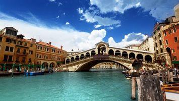 Бесплатные фото мост,река,венеция,италия,небо,облака,город