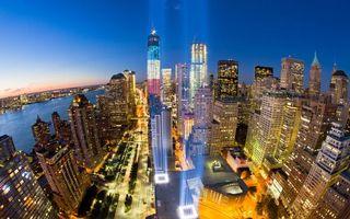 Бесплатные фото ночной Нью-Йорк, огни