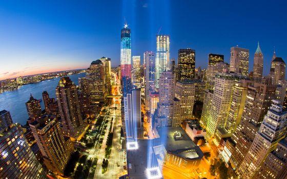 Фото бесплатно ночной Нью-Йорк, огни
