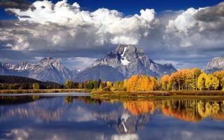 Фото бесплатно осень, река, горы