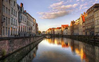 Бесплатные фото река,мост,набережная,дома,окна,небо,облака