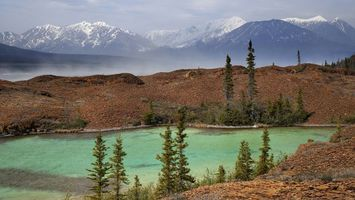 Бесплатные фото река,горы,небо,туман,песок,деревья,вода