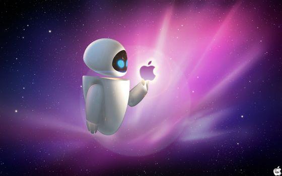 Бесплатные фото робот,человечек,эйпл,apple,логотип,фирма,бренд,символ,яблоко,фон,звезды,скопления