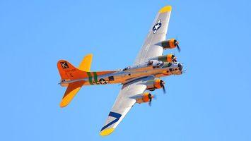 Заставки самолет, яркий, оранжевый, крылья, небо, голубое, авиация