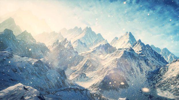 Фото бесплатно снегопад, горы, зима
