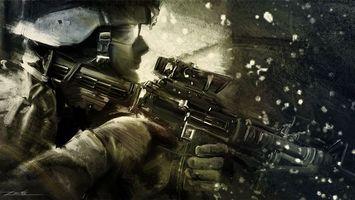 Обои солдат, шлем, автомат, ружье, форма, одежда, перчатки, снег, мужчины