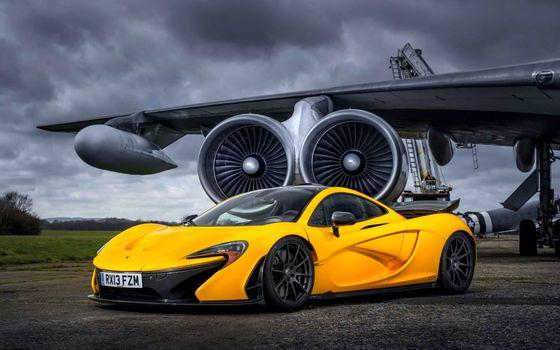 Фото бесплатно спорткар, желтый, диски, черные, крыло, самолет, турбины, машины