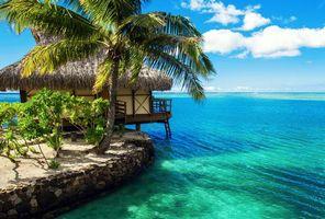 Фото бесплатно тропики, море, бунгало, пейзажи