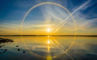 Бесплатные фото вечер,закат,озеро,солнце,круг,облака,небо