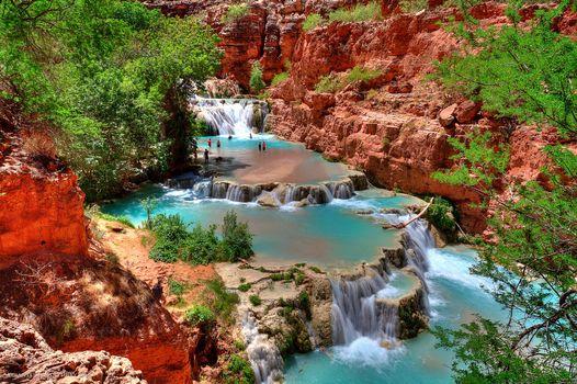 Фото бесплатно водопады, река, пороги