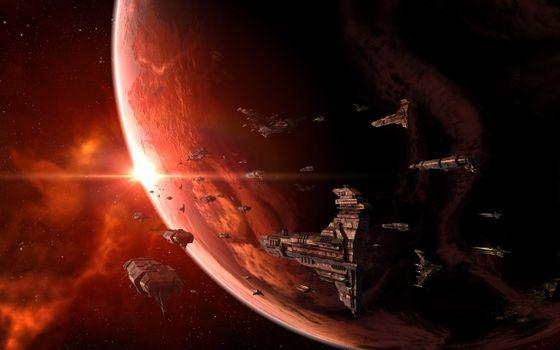 Фото бесплатно флот, звёзды, планета