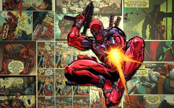 Фото бесплатно comics, marvel, комикс, выстрелы, супер герой, оружие, deadpool