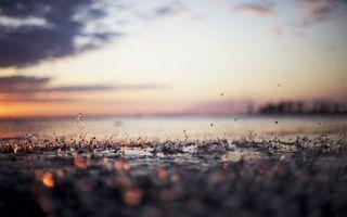 Фото бесплатно море, дождь, капли дождя