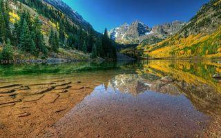 Фото бесплатно камни, озеро, осень, вода, гора, прозрачность