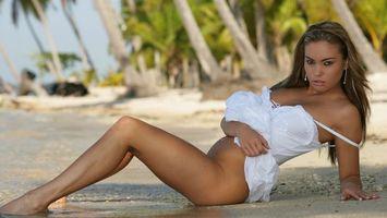 Фото бесплатно платье, белый, пальмы