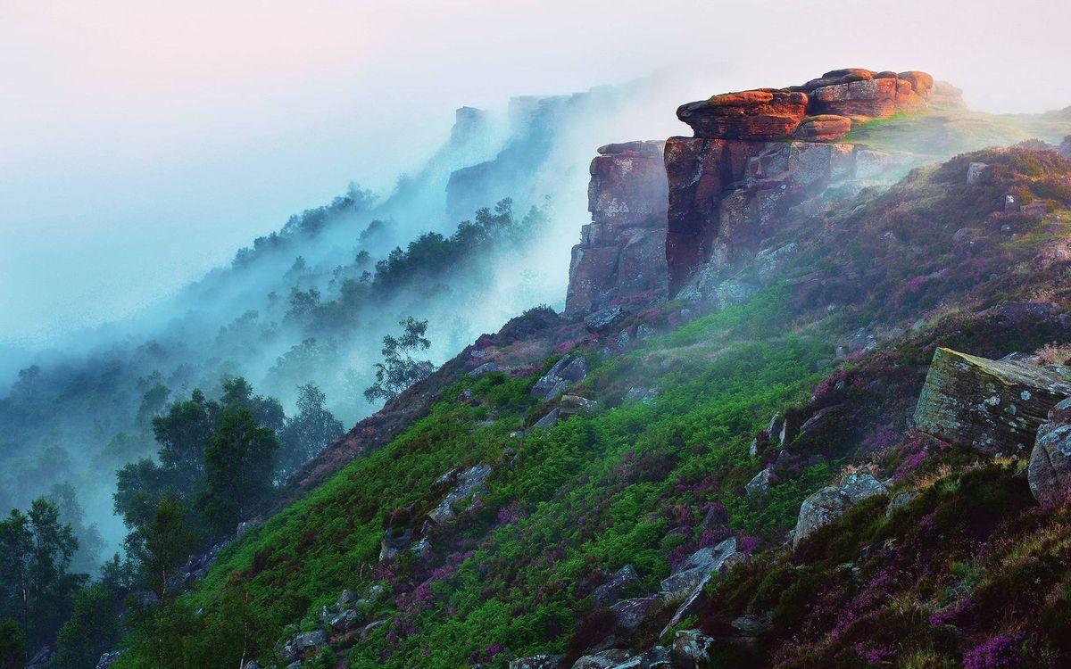 Фото бесплатно гора, туман, скалы, трава, деревья, природа