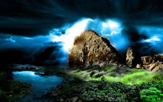 Бесплатные фото камень, тучи, небо, лучи, трава, водоросли, вода