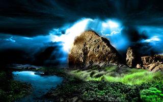 Фото бесплатно камень, тучи, небо