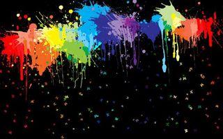 Бесплатные фото кляксы,заставка,рисунок,графика,бабочки,капли,цвета