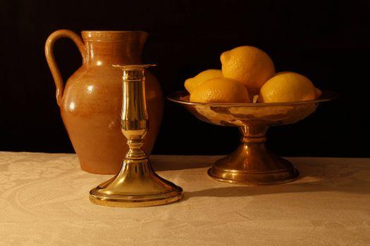 Фото бесплатно кувшин, лимоны, подсвечник