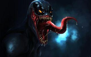 Обои монстр, чудище, глаза, светятся, зубы, язык, слюни, фантастика