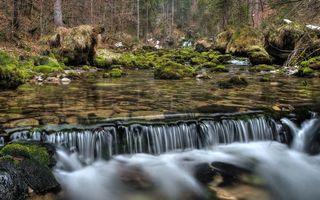 Бесплатные фото река,течение,камни,мох,водопад,деревья,природа