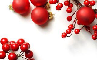 Бесплатные фото шарики,красные,звездочки,подарок,ленточка,фон,белый