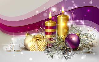 Фото бесплатно шары, ветка, елка