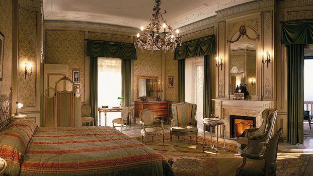 Фото бесплатно спальня кровать, люстра, зеркало